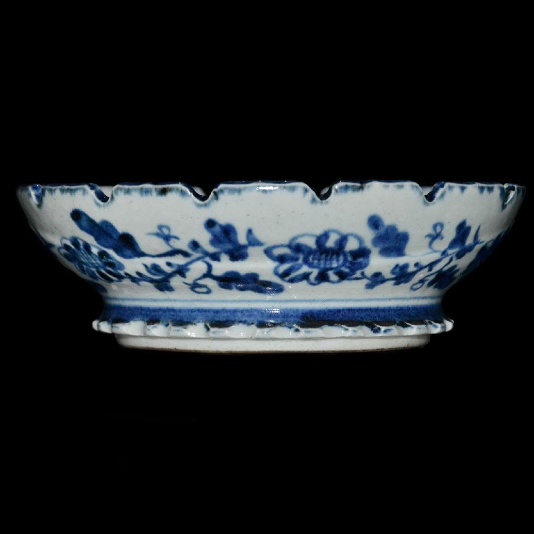 Ming, An Unusual Blue and White Bracket-Lobed Dish - 3