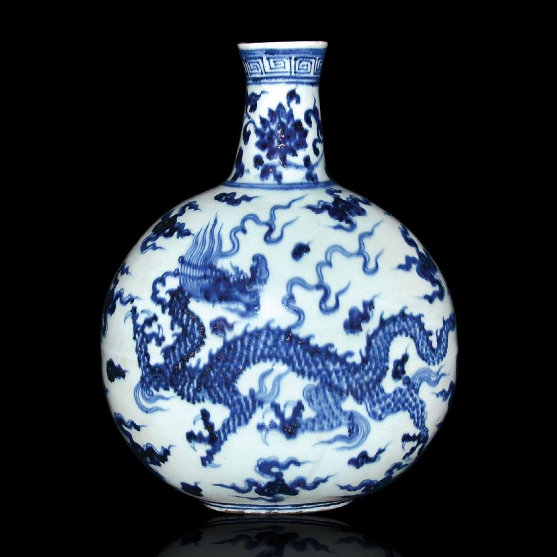 Ming, Blue and White Dragon Moon Flask