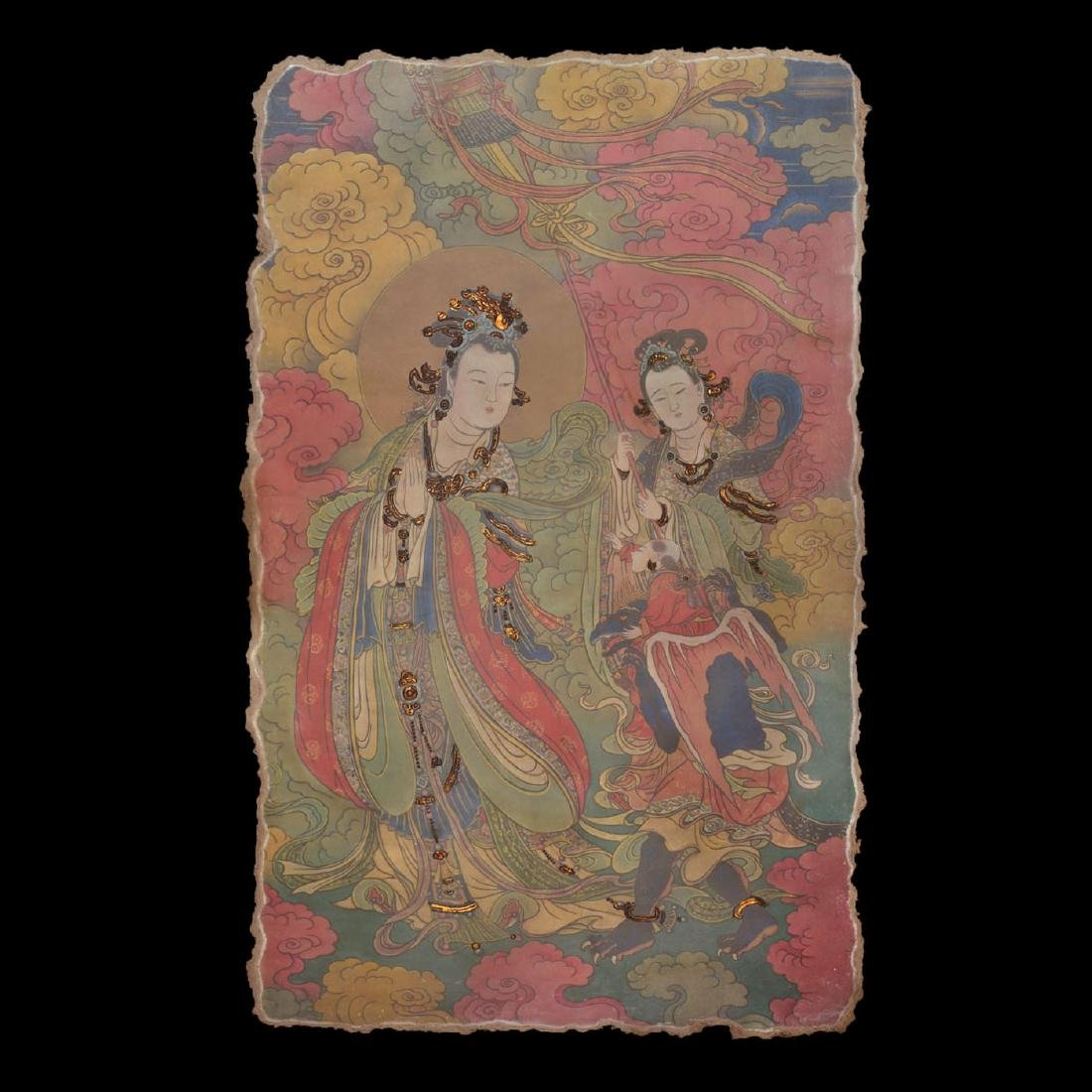 Song Dynasty, A Polychrome Stucco Fresco Panel of A