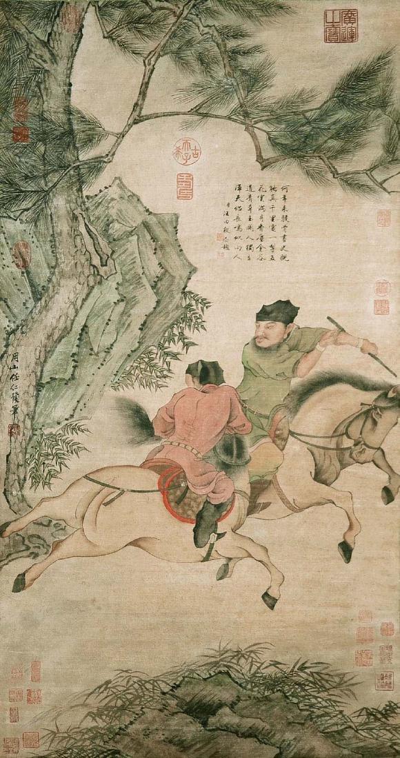 Ren Renfa Yuan Dynasty Two Horses and Riders
