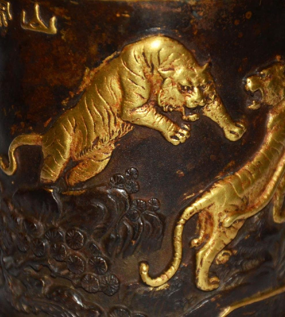 Ming Dynasty, Gilt Bronze Brush Pot with Five Tigers - 8