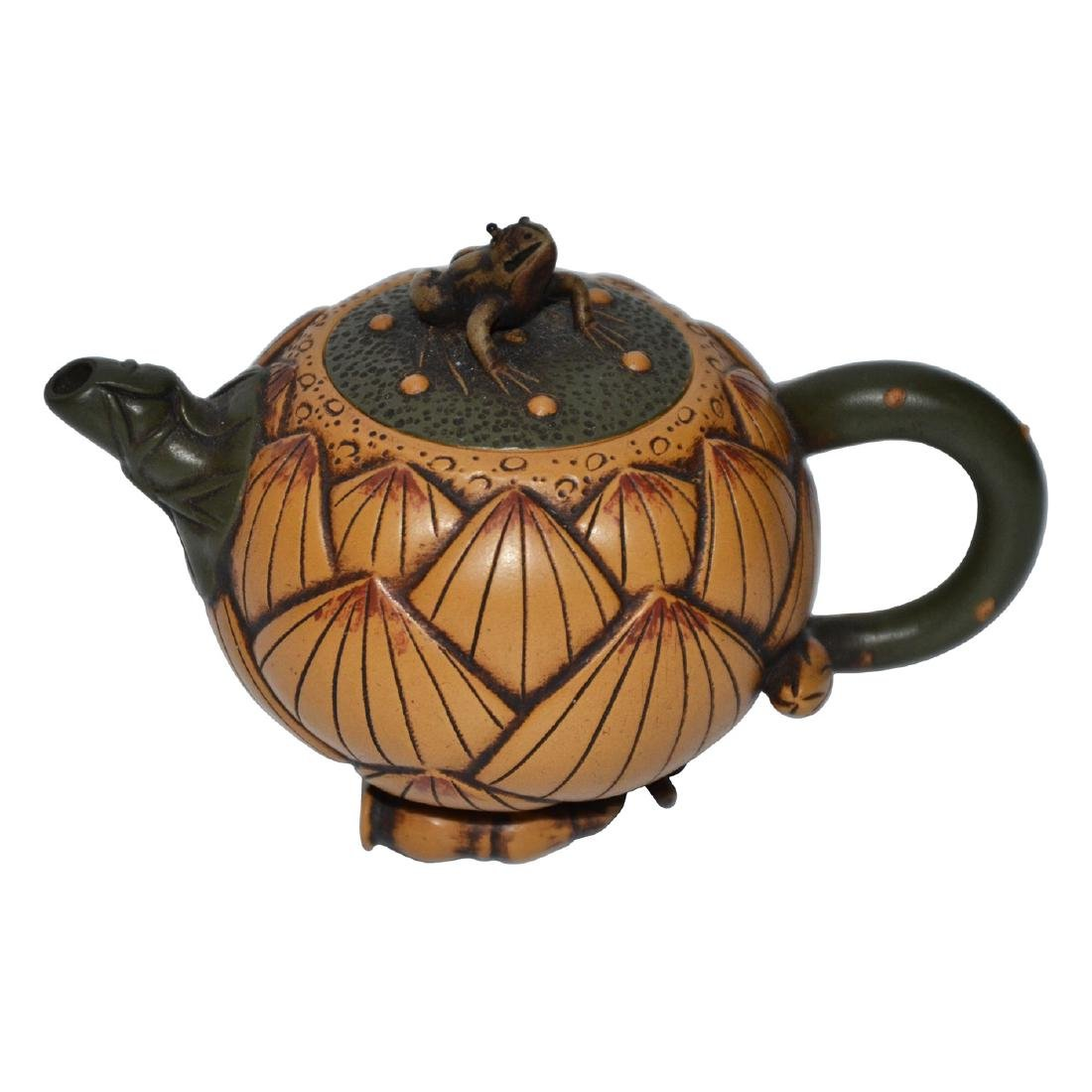 Jiang Rong, Lotus Root Form Zisha Teapot with Frog Knop