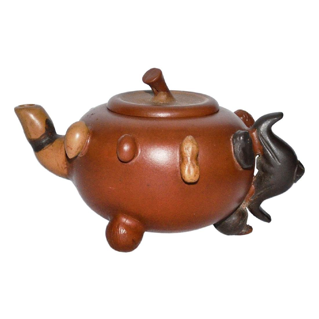 Zisha Teapot with Molded Assorted Nuts Decorations