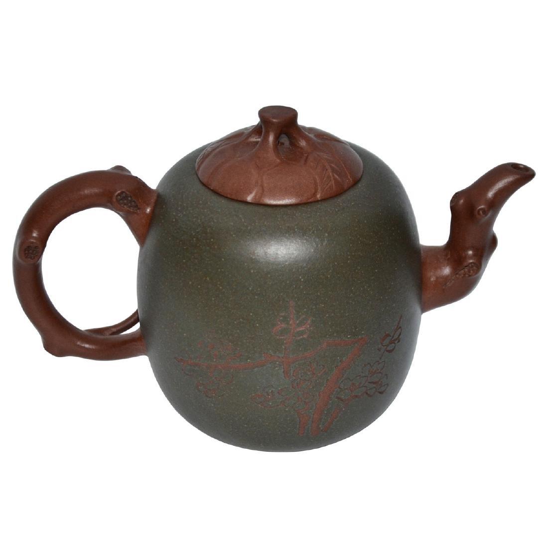 Wu Yungen, Zisha with Green Clay Plum Blossoms Teapot