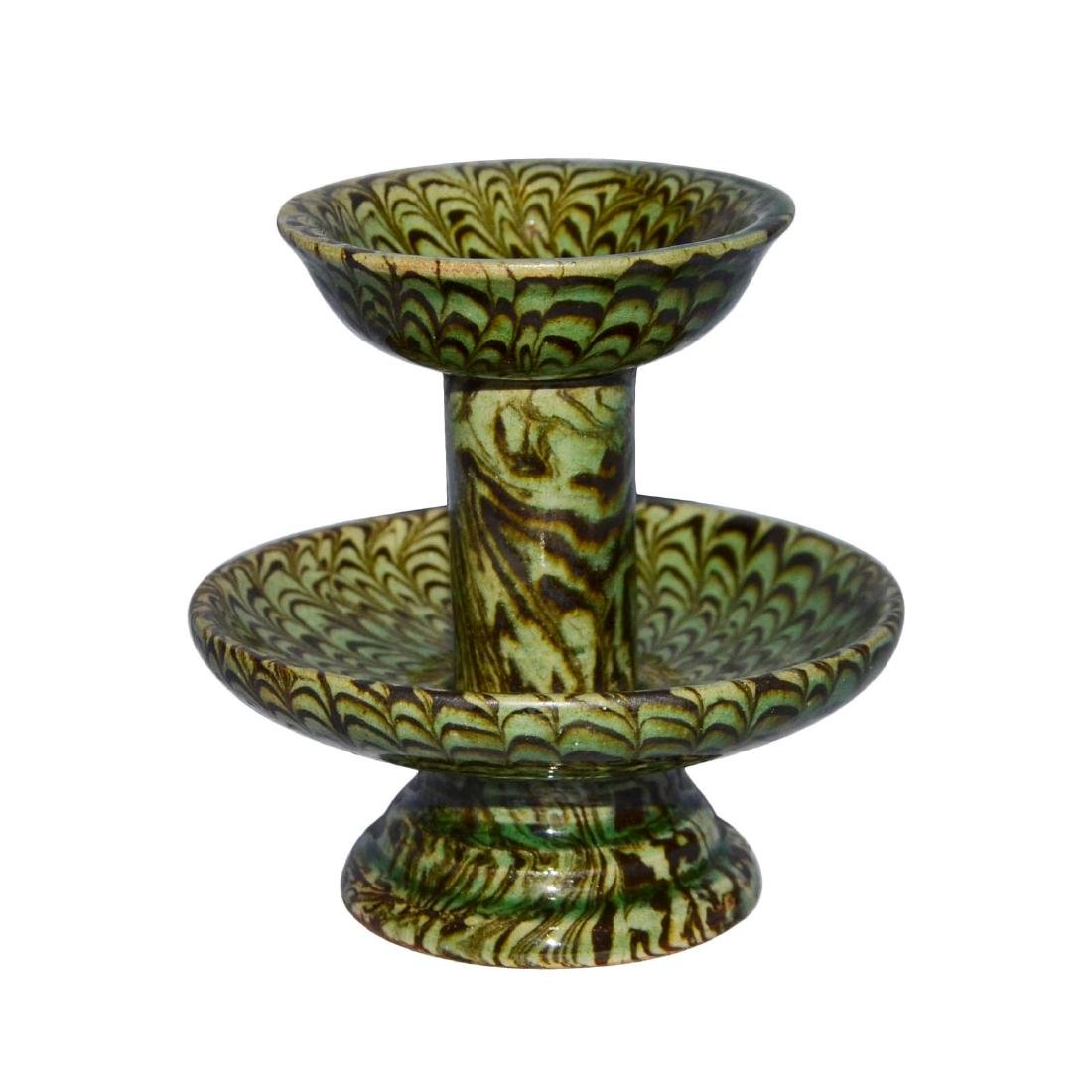 Song, A Rare Green-Glazed Marbled Pottery Lamp with - 2