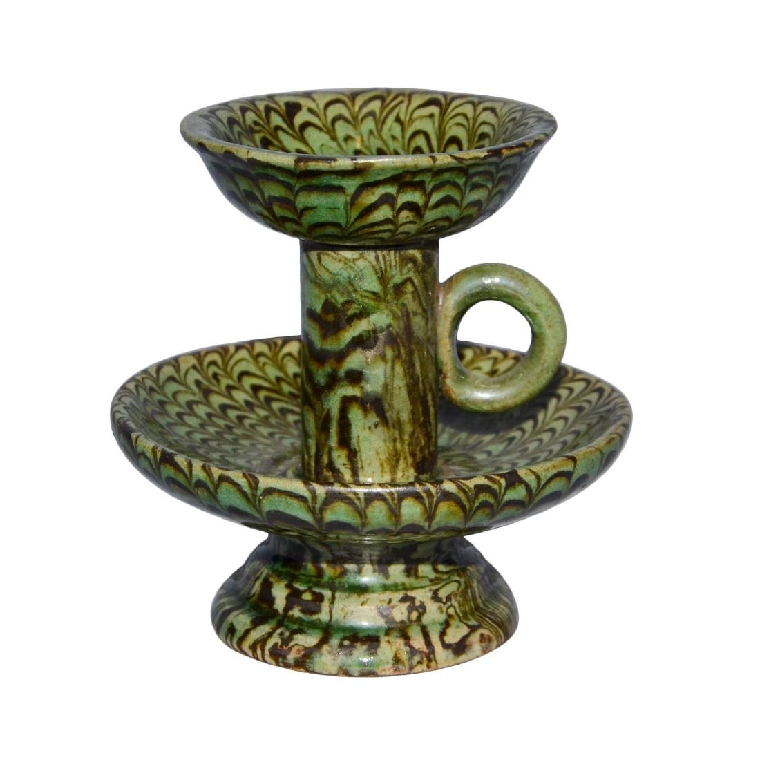 Song, A Rare Green-Glazed Marbled Pottery Lamp with - 3