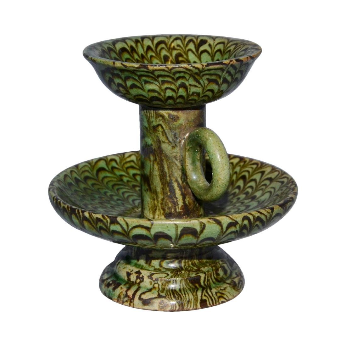 Song, A Rare Green-Glazed Marbled Pottery Lamp with - 5