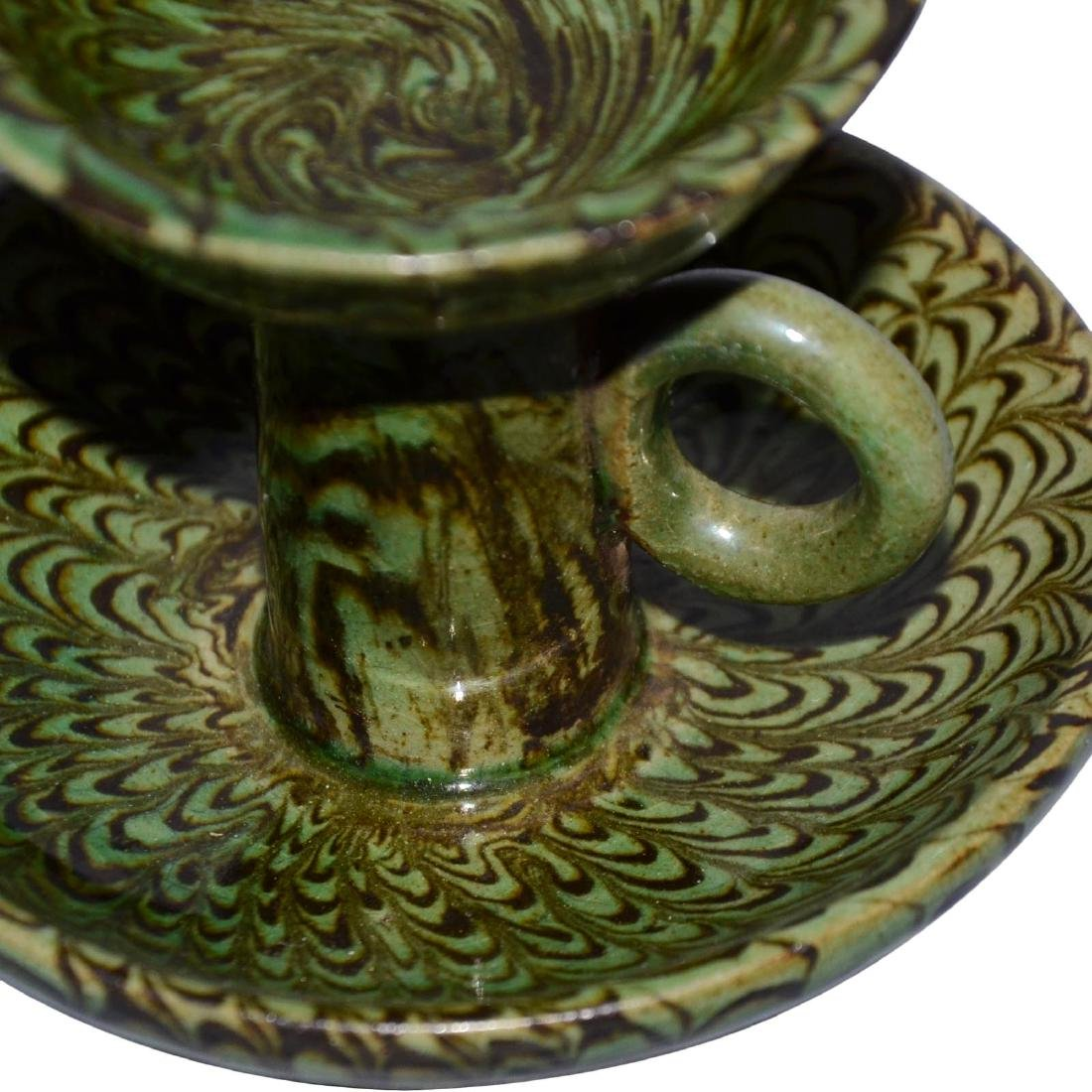 Song, A Rare Green-Glazed Marbled Pottery Lamp with - 8