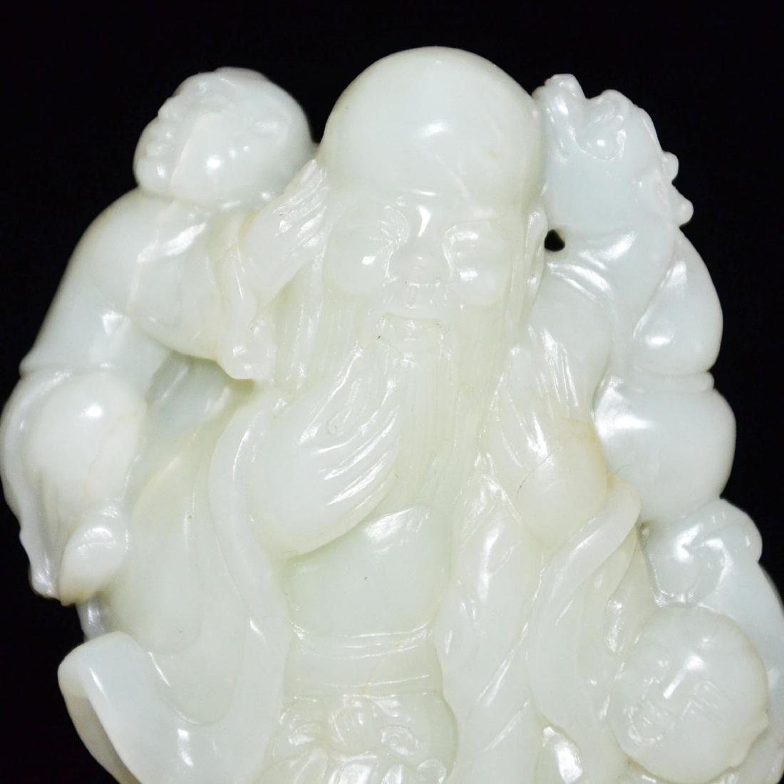 A Fine Hetian White Jade Carving of God of Longevity - 2