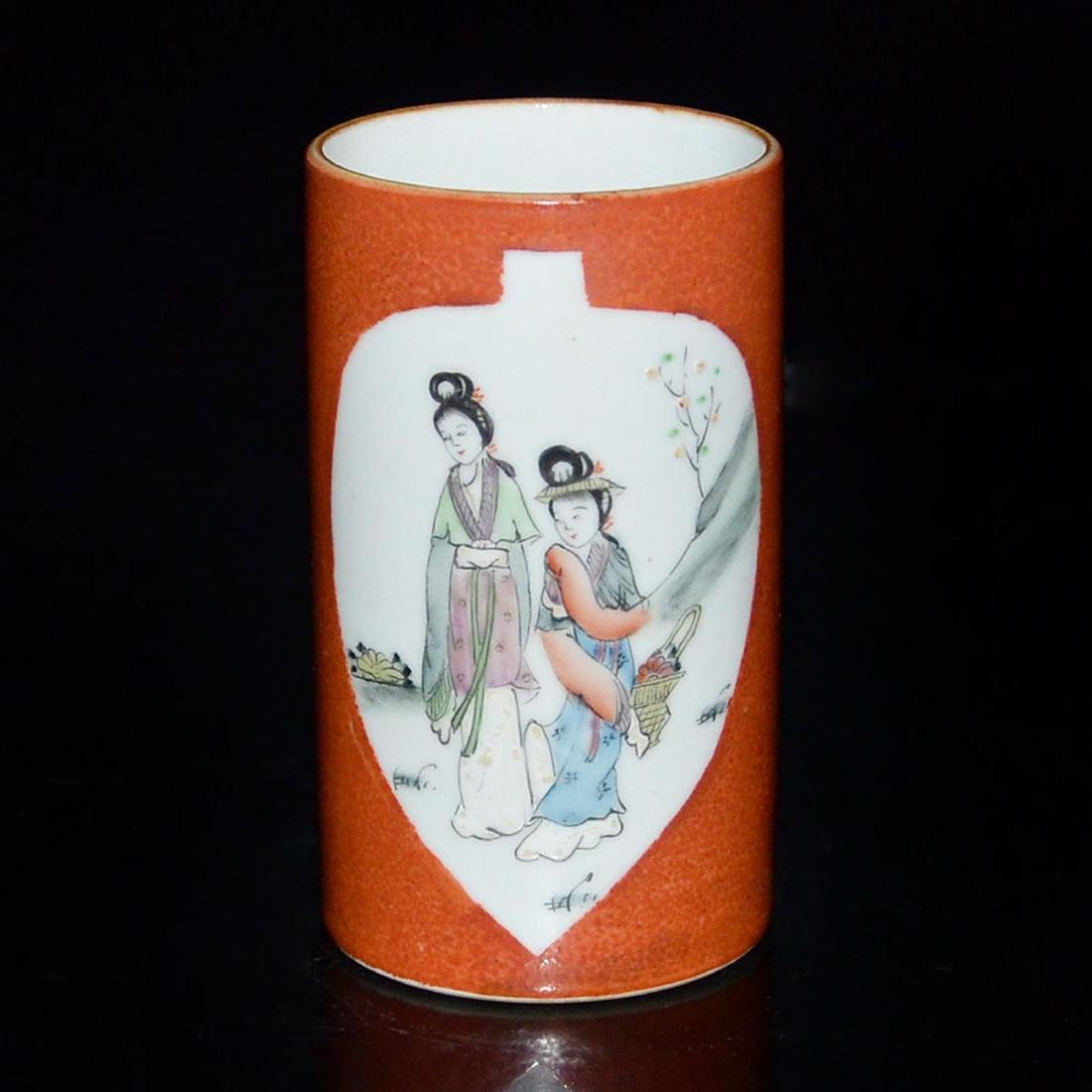 A Famille-Rose Brush Pot in Coral Red Ground with