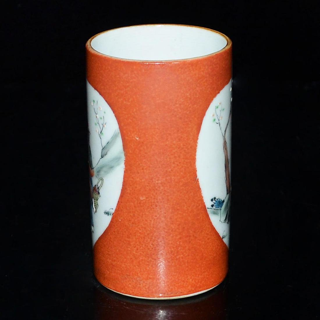 A Famille-Rose Brush Pot in Coral Red Ground with - 2