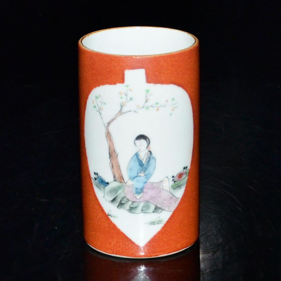A Famille-Rose Brush Pot in Coral Red Ground with - 3