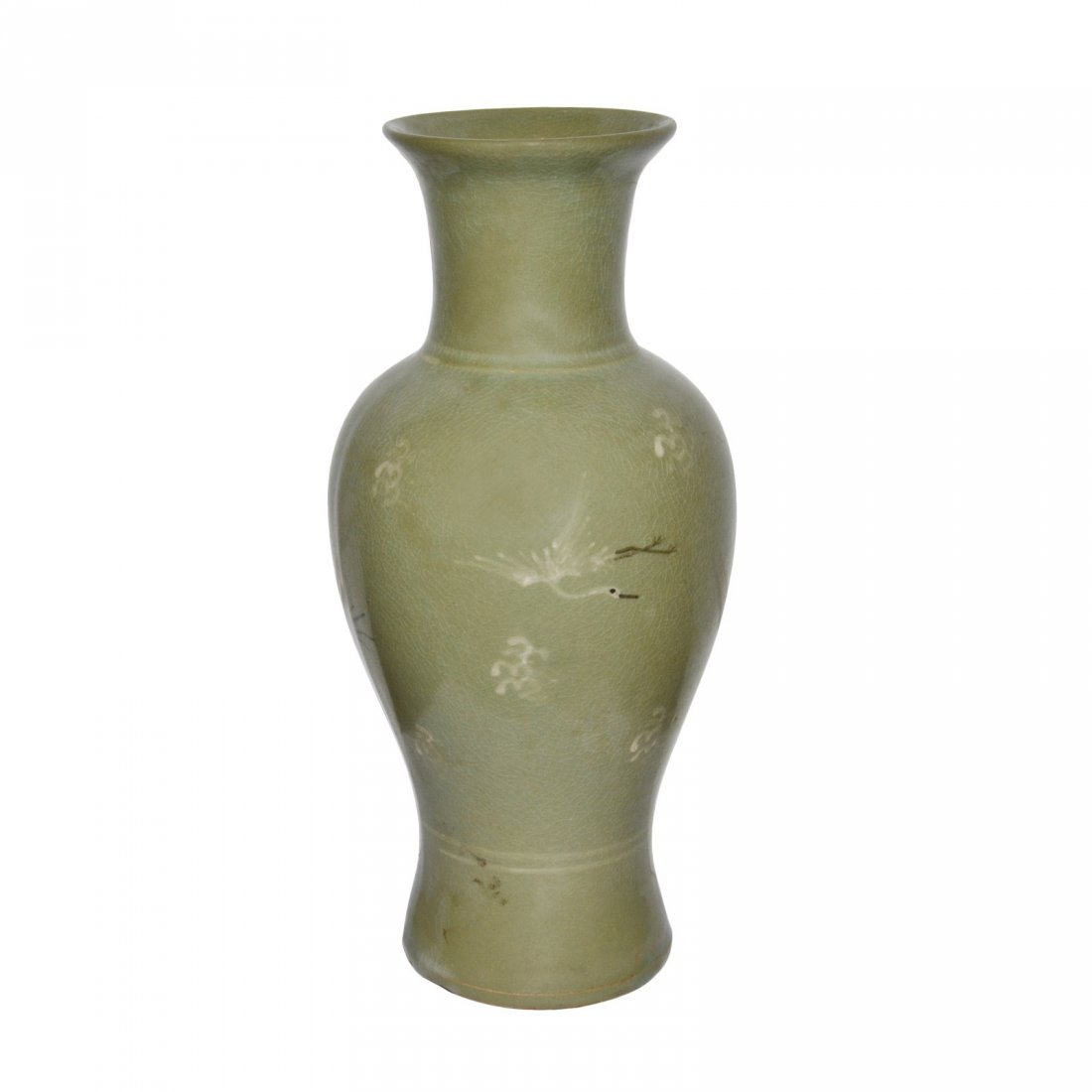Korea, 19th Century Celadon-Glazed Crane and Cloud Guan
