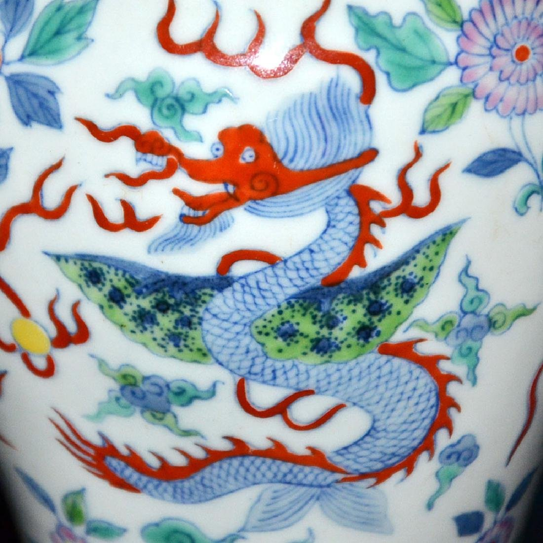 Qing, A Fine Doucai Phoenix and Dragon Meiping - 8