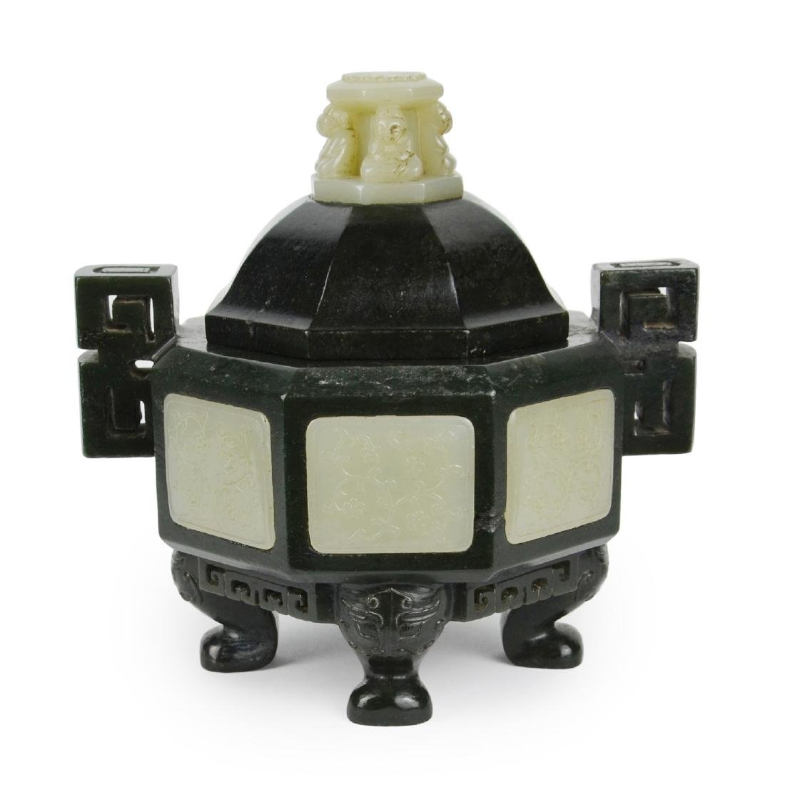 A Spinach Jade Censer Inlaid with White Jade - 3
