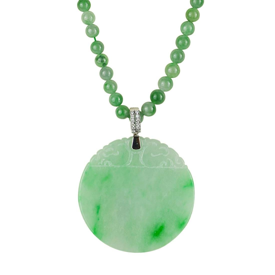An Apple Green Jadeite Round Pendant with Diamond Clasp