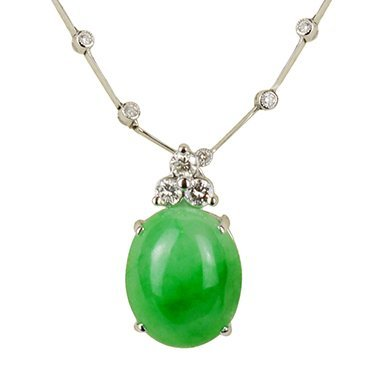 Jadeite with Diamond Pendant and Diamond Necklace