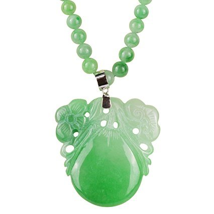 An Apple Green Jadeite Ruyi Floral Pendant with a