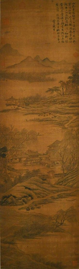 Jin Duo (Qing Dynasty) Cottages by a Grove, in the