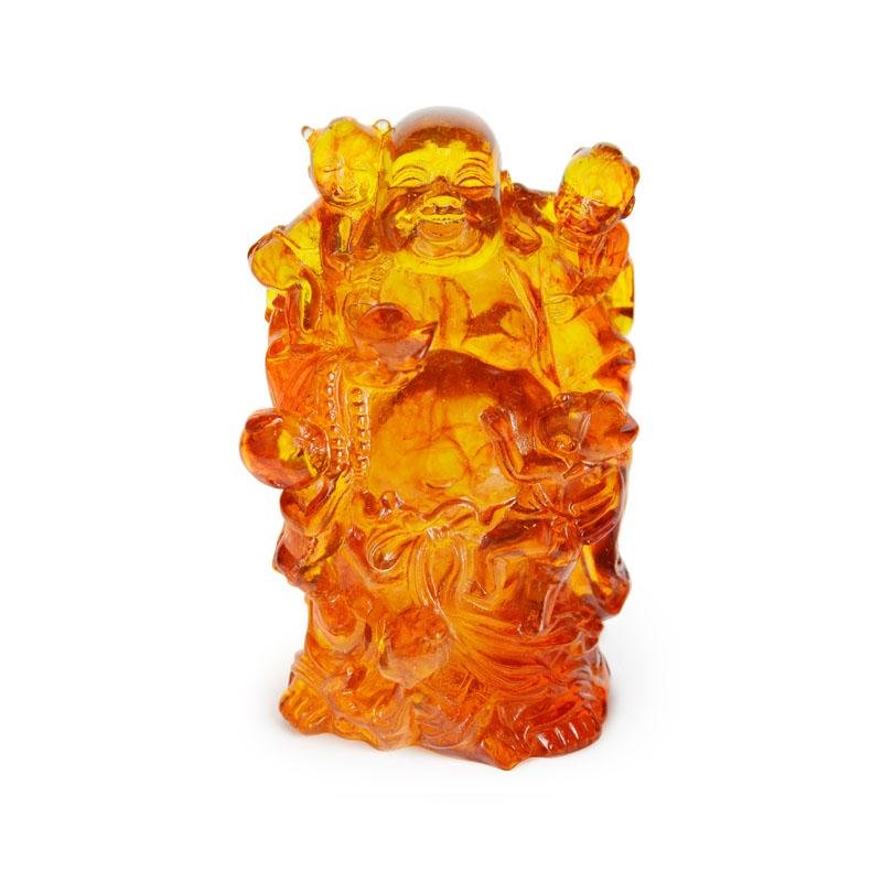 Carved Golden Amber God of Longevity with Children