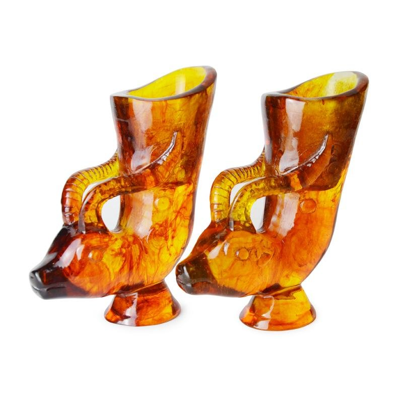A Pair of Carved Golden Amber Gong