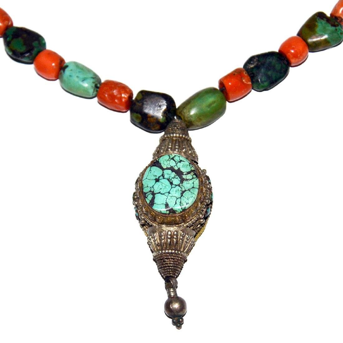 Tibetan Coral and Turquoise Necklace with Silver gau