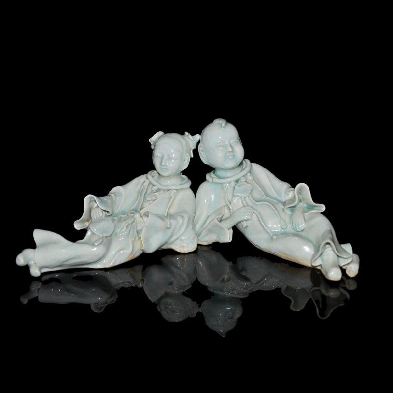 Song, A Pair of Exceptionally Rare Qingbai Figure of