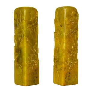 A Pair of Columnar Furong Stone Seals with Figural