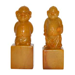 A Pair of Tianhuang Square Seal with Zodiac Pig Knop