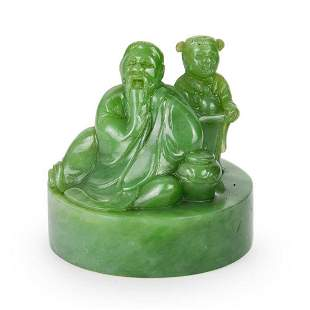 Qing Dynasty A Spinach Green Jade Seal