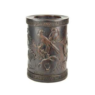 Zitan Relief Carved Birds on Floral Twigs Cylindrical