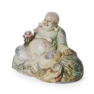 Qing A Fine Polychrome Shoushan Stone Figure of Budai