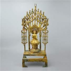 Sui Dynasty, A Gilt Bronze Altarpiece Dedicated to