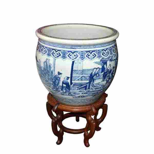 Qing, A Massive Blue and White Figurative Jardiniere