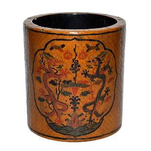 Ming, A Very Rare Lacquer Brush Pot