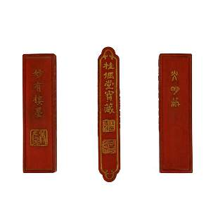 Ming Dynasty, Wanli, A  very Rare Set of Three Huizhou