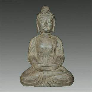 Western Wei, A Rare Stone Carving of Seated Guanyin