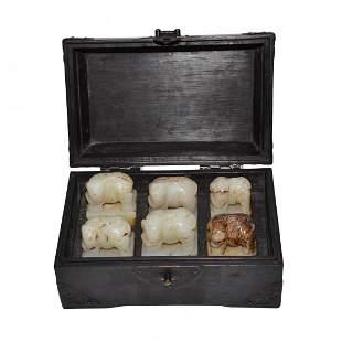 Qing, A Set of Six Rectangular White Jade Seal