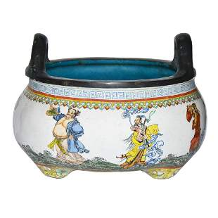 Qing, A Rare Painted Enamel Famille-rose Bronze Censer