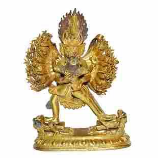 Qing, A Large Gilt Bronze Figure of Vajrabhairava Yaman