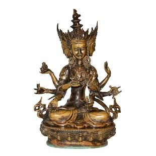 Qing Dynasty, A Bronze Figure Vsnisavijava