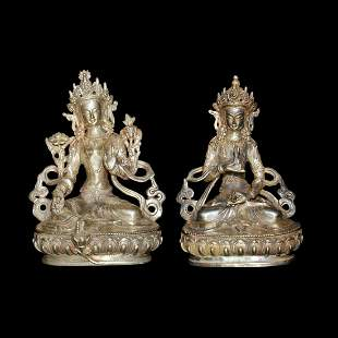 Qing Dynasty, A Pair of Silvery Bronze Figures of Tara