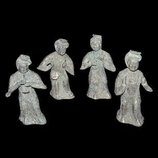 Tang, A Group of Four Bronze Musicians