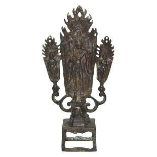 Northern Wei, Bronze Triad with Bodhisattva