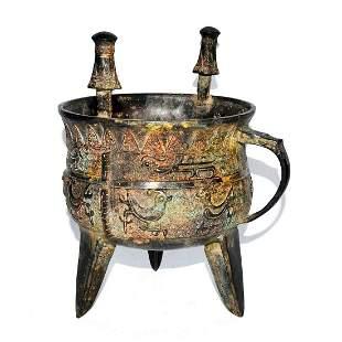 Zhou, Archaistic Bronze Tripod Ritual Wine Vessel, Jia