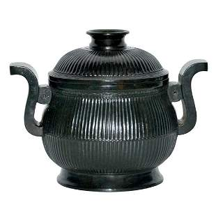 Qing Dynasty, A Fine and Rare Spinach Green Jade Censer