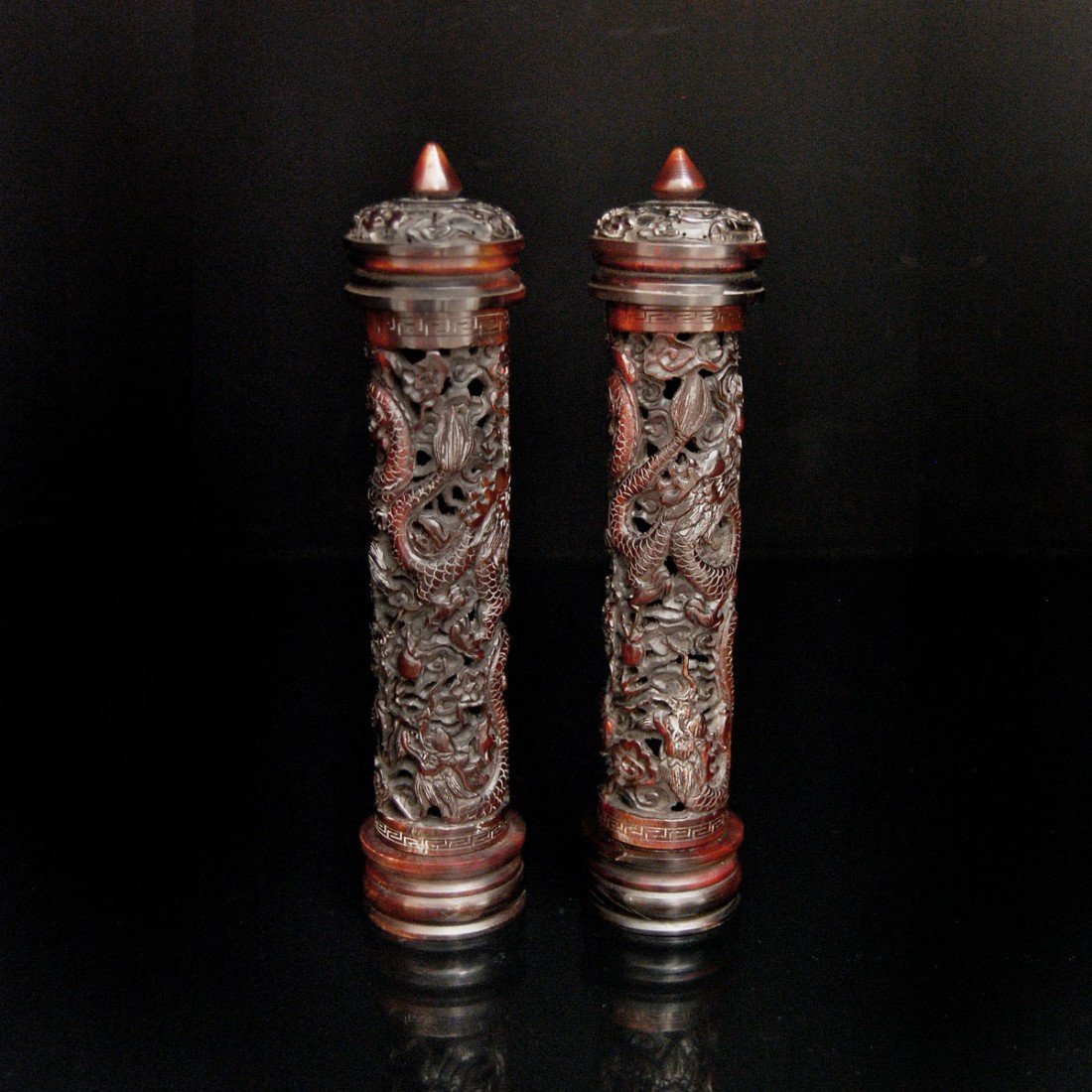 196: A Pair of Exquisitely Carved Rhinoceros Horn Cylin - 2