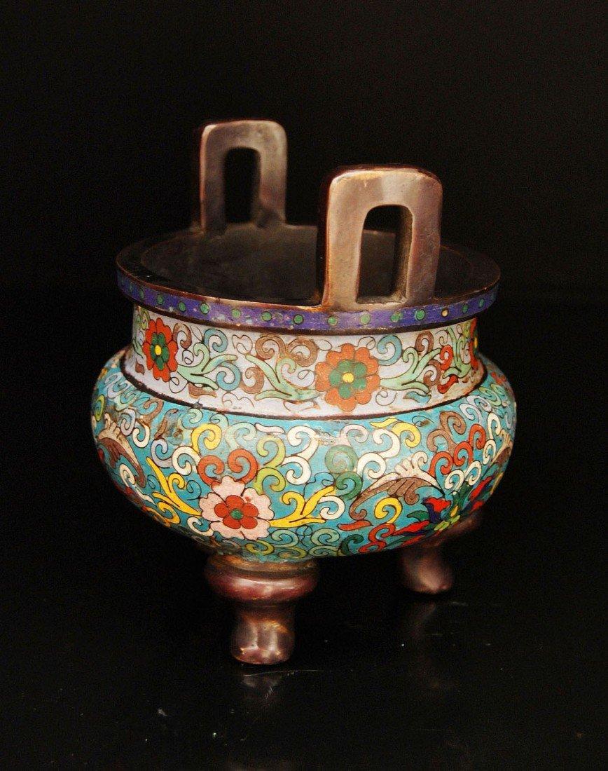 307: A Bronze and Cloisonne Enamel Tripod Censer - 2