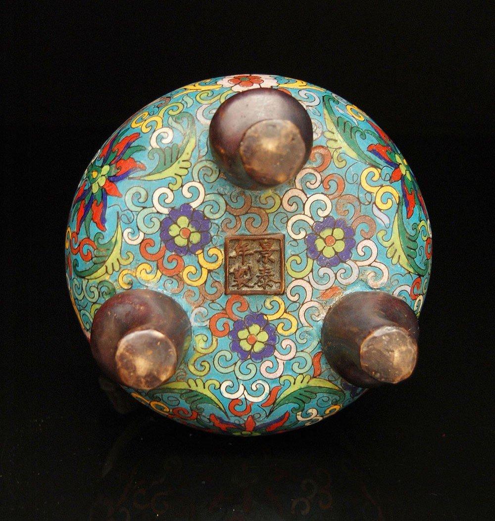307: A Bronze and Cloisonne Enamel Tripod Censer - 3