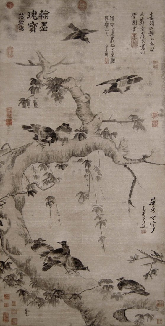 21: Tang Yin Ming Dynasty  Flock of Bird on Tree